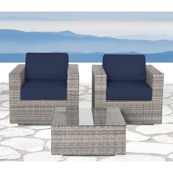Commodore 3 Piece Rattan Double Club Sectional Seating with Sunbrella Cushions by Sol 72 Outdoor