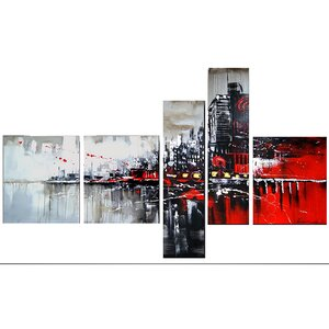 Red/Black Cityscape 5 Piece Graphic Art on Wrapped Canvas Set by Design Art