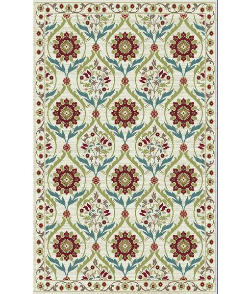 Brighton Cream/Red Area Rug by Mayberry Rug