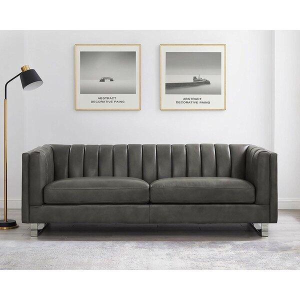Good Quality Walbourne Leather Sofa by Orren Ellis by Orren Ellis