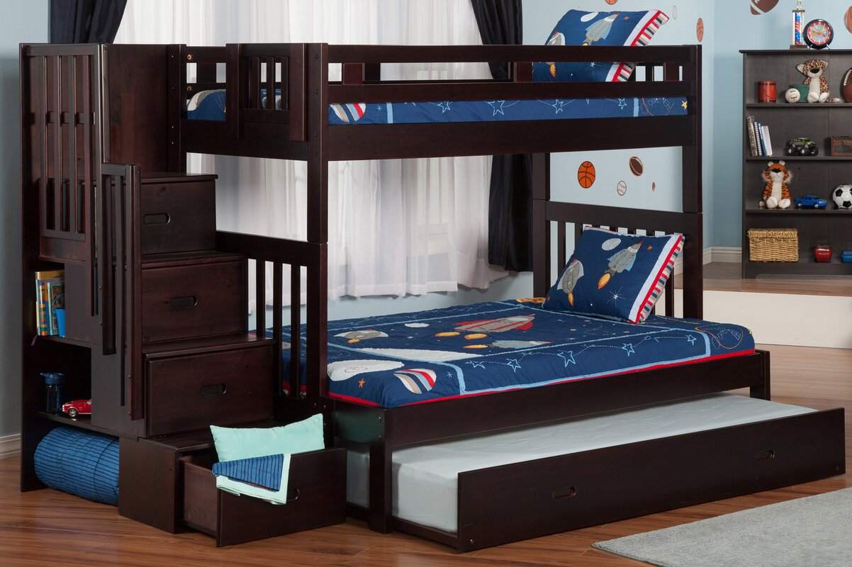 Viv Rae Edwardo Twin Over Full Bunk Bed With Staircase With - Full bunk bed with stairs