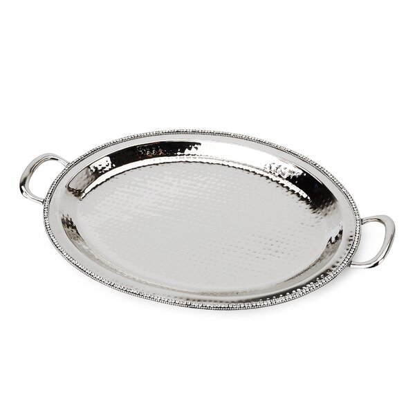 Prism Hammered Stainless Steel Oval Tray by Classic Touch