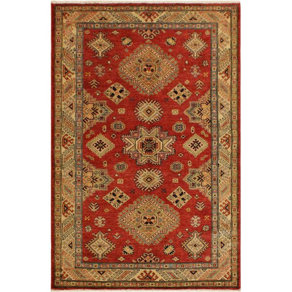 One-of-a-Kind Eva Super Kazak Hand-Knotted Wool Red/Light Gold Area Rug by Astoria Grand