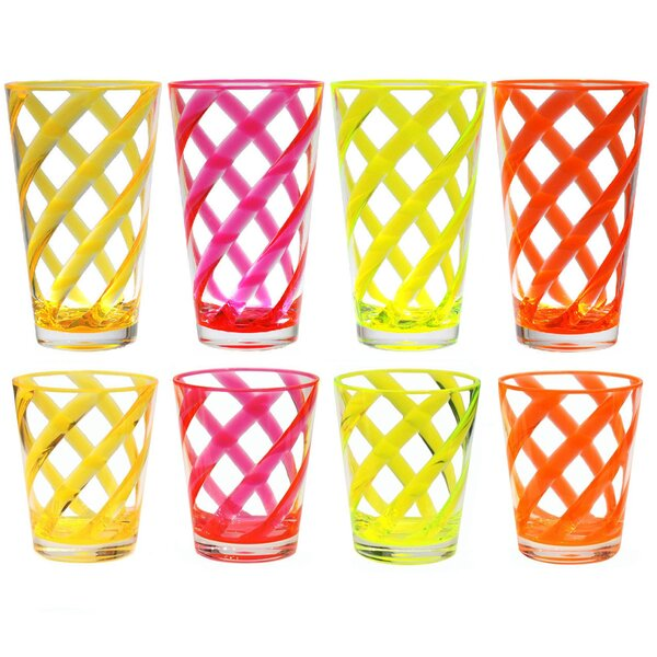 Glenorie Stripes 8 Piece Plastic Every Day Glass Set by Latitude Run