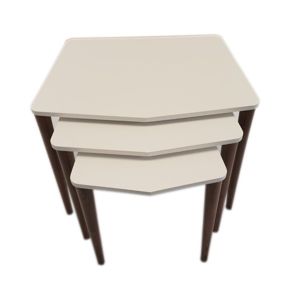 George Oliver 3 Pcs Nesting Table, White, Walnut By George Oliver