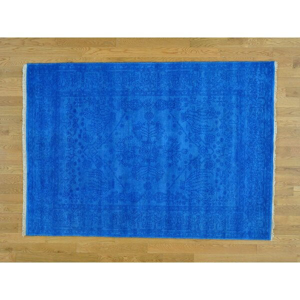 One-of-a-Kind Beare Denim Antiqued Handwoven Blue Wool Area Rug by Isabelline