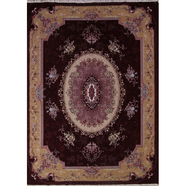 Pamplin Classical Soft Plush Colorful Tabriz Persian Burgundy/Beige Area Rug by Isabelline
