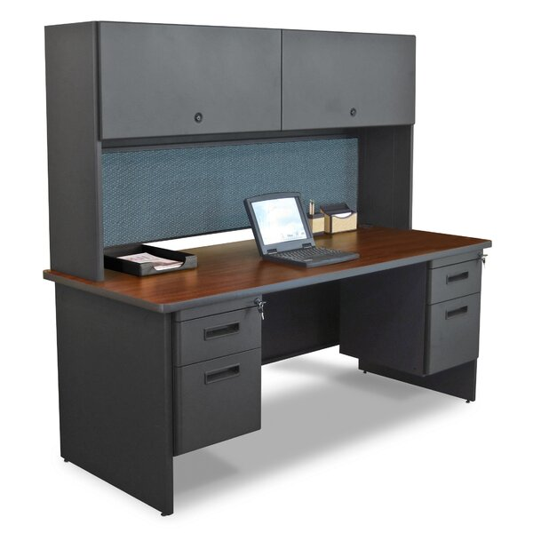Pronto Flipper Door Cabinet and Drawer Computer Desk with Hutch by Marvel Office Furniture