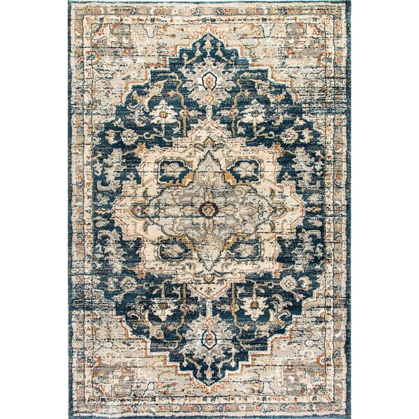 Cortes Beige/Blue Area Rug by Bungalow Rose