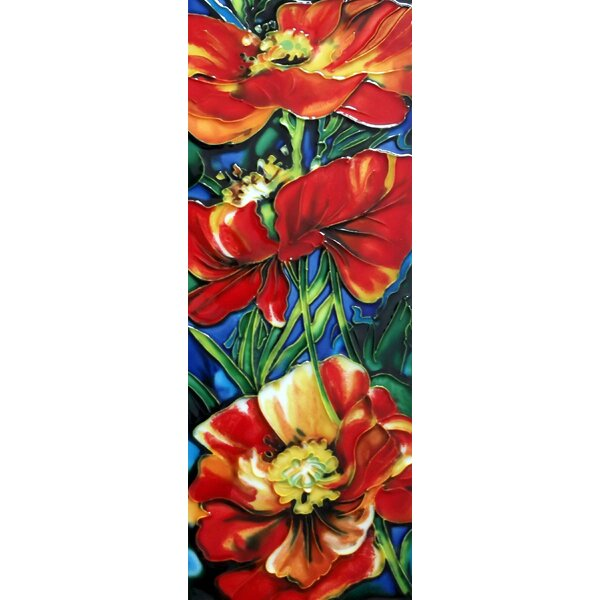 3 Red Poppy Flowers Tile Wall Decor by Continental Art Center