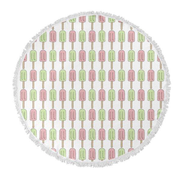 Garcia Round Green/Pink Beach Towel by Ivy Bronx