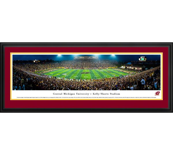 NCAA Central Michigan Football 50 Yard Line Framed Photographic Print by Blakeway Worldwide Panoramas, Inc