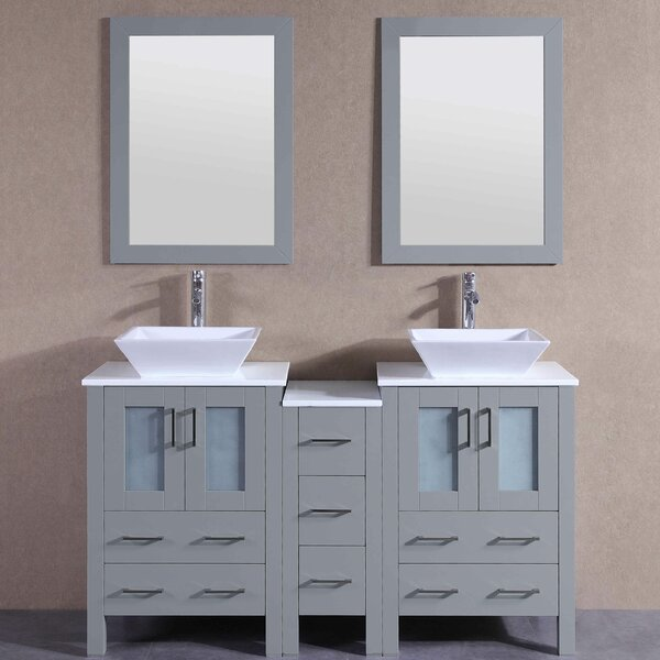 Eleanor 60 Double Bathroom Vanity Set with Mirror by Bosconi