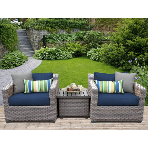Meeks 3 Piece Conversation Set with Cushions by Rosecliff Heights