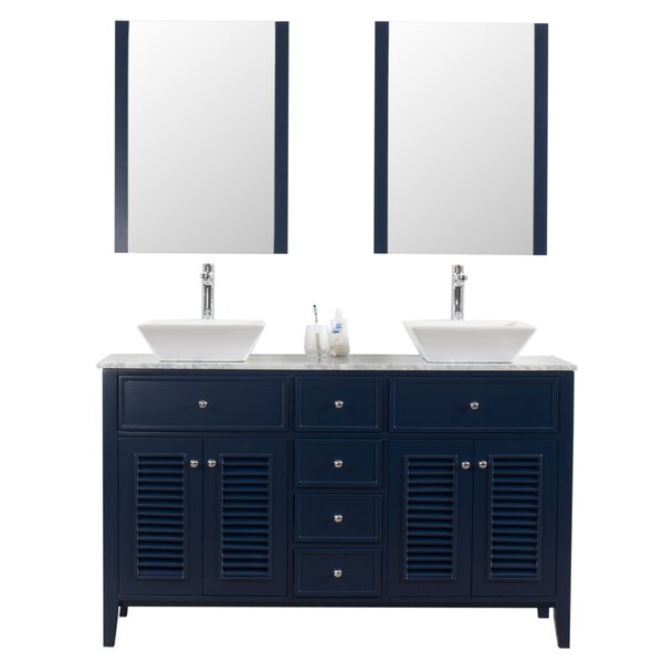 Christine 60 Double Bathroom Vanity Set with Mirror