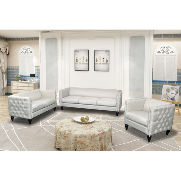 Lack Modern Nail-head 3 Piece Configurable Living Room Set by House of Hampton