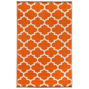 Bremond Block Hand Woven White/Orange Indoor/Outdoor Area Rug