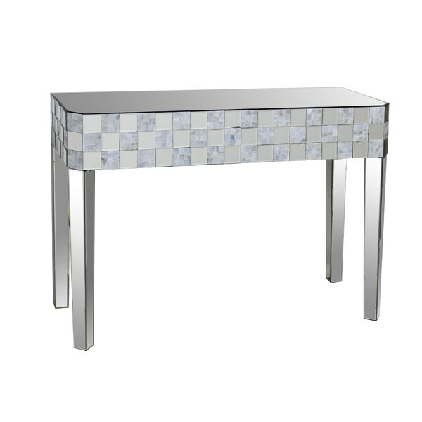 Baggett Frosted Chequered Pattern Console Table by House of Hampton