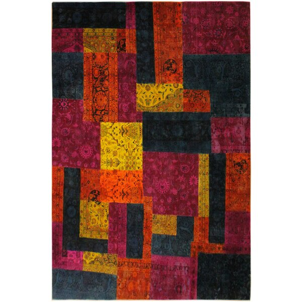 One-of-a-Kind Hammd Patchwork Color Reform Hand-Knotted Wool Magenta/Orange Area Rug by Bloomsbury Market
