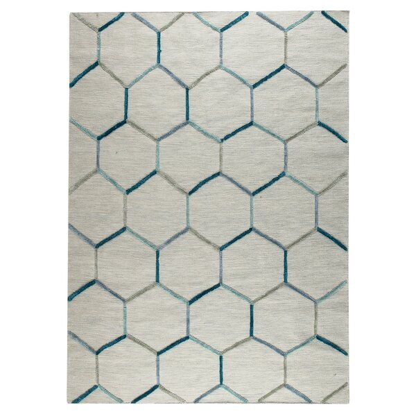 Khema 2 Hand-Woven Turquoise Area Rug by M.A. Trading