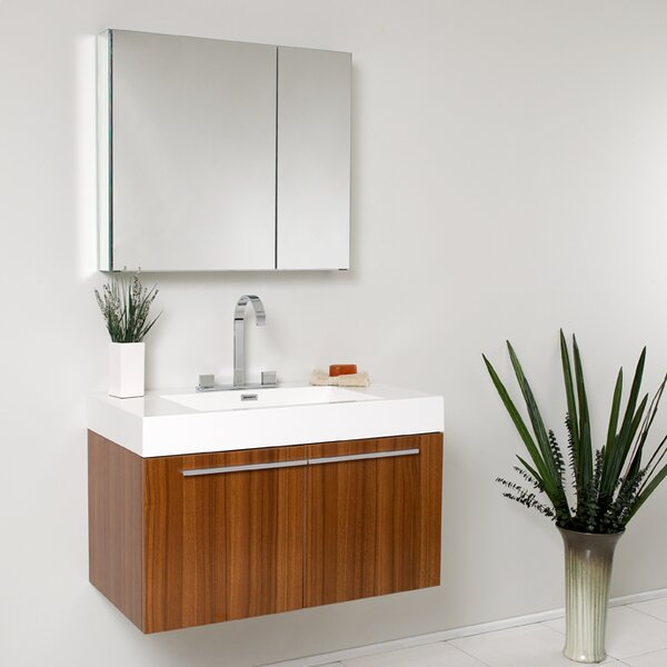 Senza Vista 36 Single Bathroom Vanity Set with Mirror by FrescaSenza Vista 36 Single Bathroom Vanity Set with Mirror by Fresca