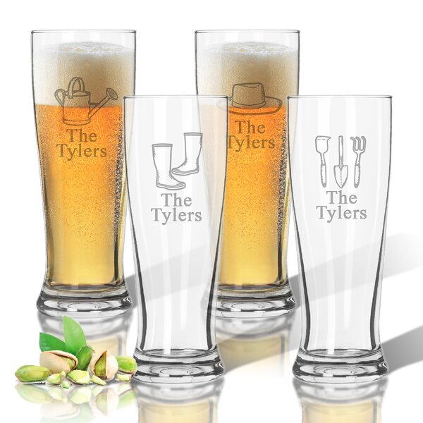 Personalized Tritan 14 oz. Pilsner Glass Set (Set of 4) by Carved Solutions
