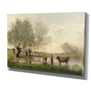 'Cows in Landscape' by Jean Baptiste Camille Corot Painting Print on Wrapped Canvas by Wexford Home