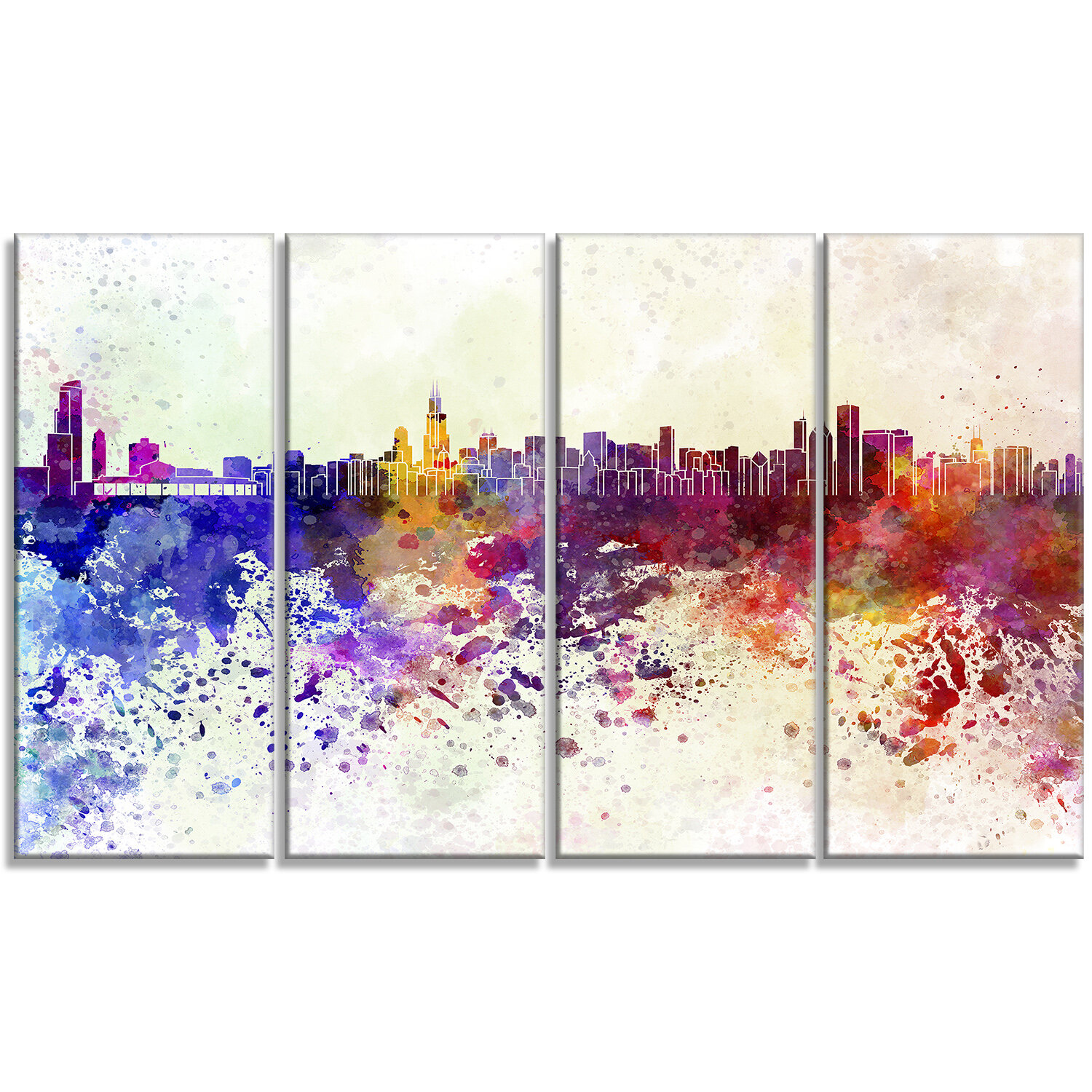 Designart Chicago Skyline Cityscape 4 Piece Painting Print On Wrapped Canvas Set Wayfair