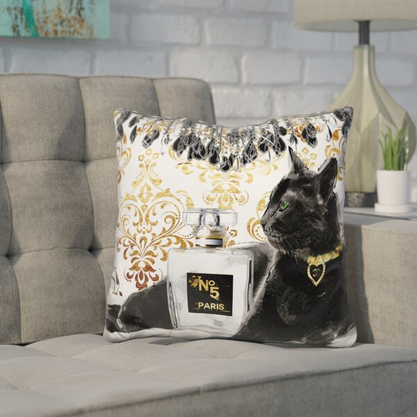 Core Cat Perfume Bottle Throw Pillow by Wrought Studio