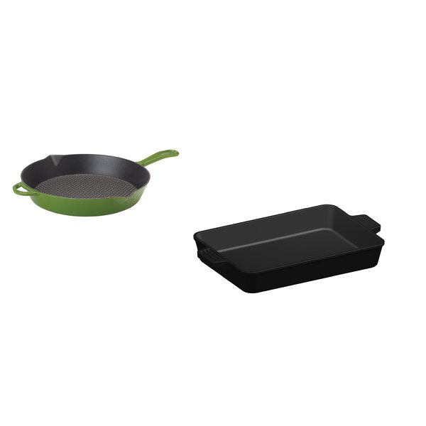 Cast Iron 2 Piece Non-Stick Skillet and Baking Pan Set by Bayou Classic