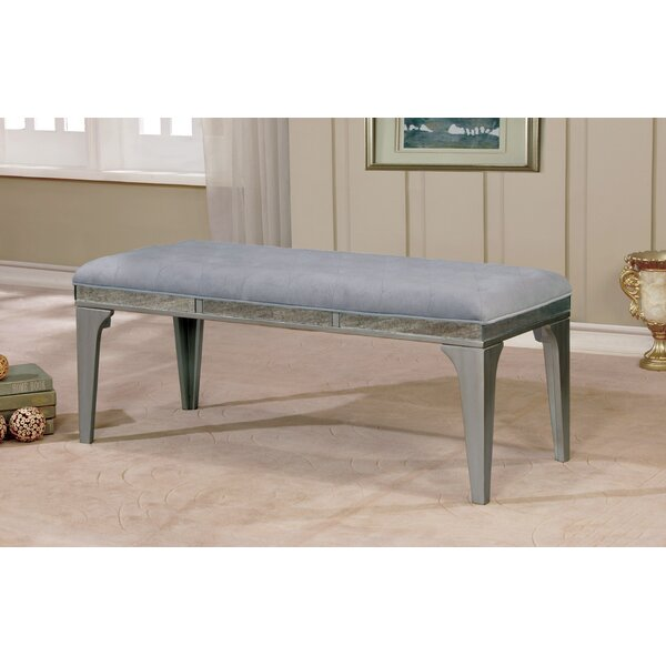 Clay Contemporary Wood/Metal Bench by One Allium Way