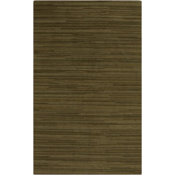 Alica Handmade Olive Stripe Area Rug by Orren Ellis