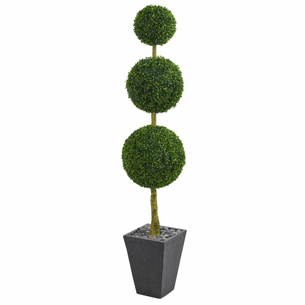 Triple Ball Artificial Floor Boxwood Topiary in Planter by Orren Ellis
