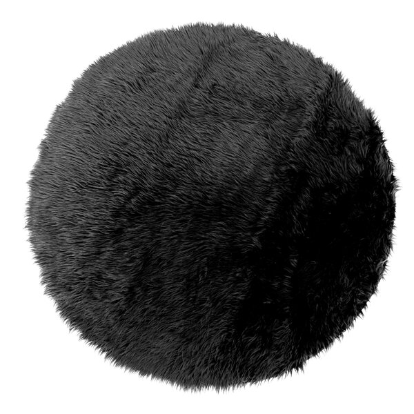 Aric Round Faux Fur Black Area Rug by House of Hampton