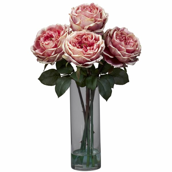 Fancy Rose with Cylinder Vase Silk Floral Arrangements in Pink by Nearly Natural