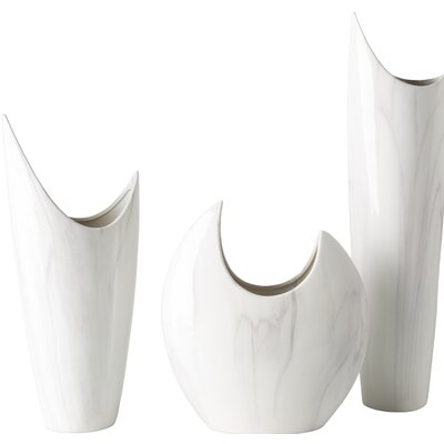3 Piece White Ceramic Table Vase Set Reviews Allmodern
