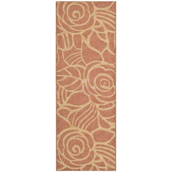 Laurel Rust/Sand Floral Outdoor Rug by August Grove