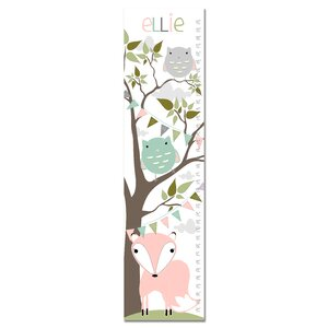 Fox and Owl Woodland Personalized Canvas Growth Chart by Finny and Zook