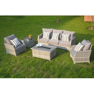 Dias 5 Piece Rattan Sofa Seating Group with Cushions By Rosecliff Heights