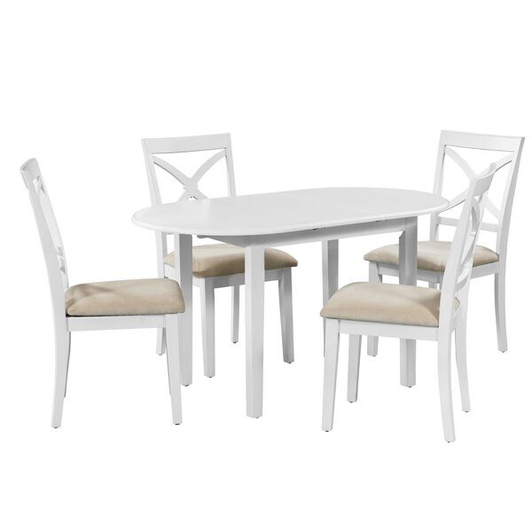 Forsyth 5 Piece Extendable Solid Wood Dining Set by Alcott Hill Alcott Hill