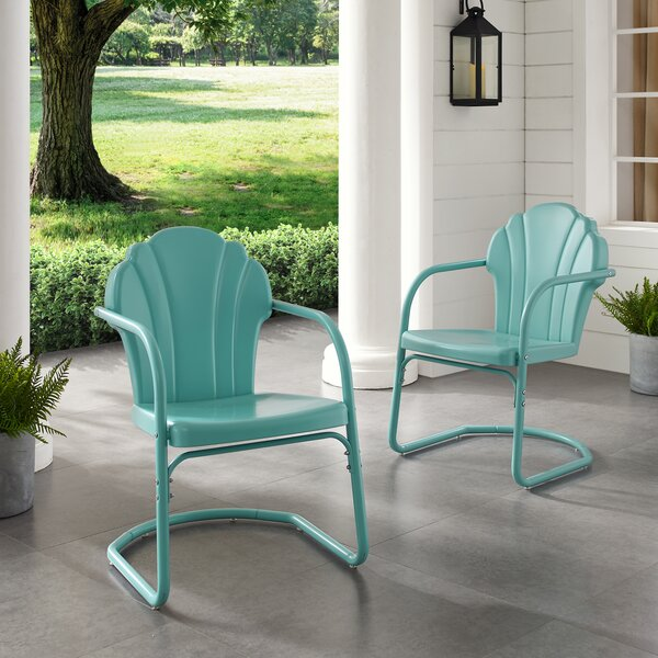 Tarantino Metal Patio Dining Chair (Set of 2) by Wrought Studio