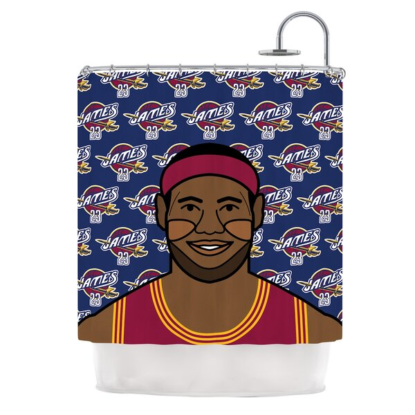 Lebron James by Will Wild Basketball Shower Curtain by KESS InHouse