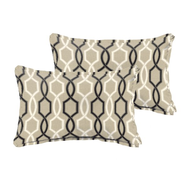 Bank Beige Black Indoor/ Outdoor 13 Inch X 20 Inch Pillows - Flange by Darby Home Co