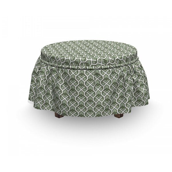 Rhombus Stripes Ottoman Slipcover (Set Of 2) By East Urban Home