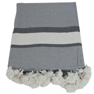 Juno Striped Pom Pom Cotton Blanket