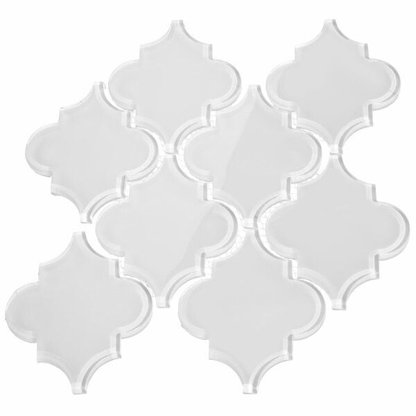 Water Jet 3.9 x 4.7 Glass Mosaic Tile in Ornamental Bright White by Giorbello