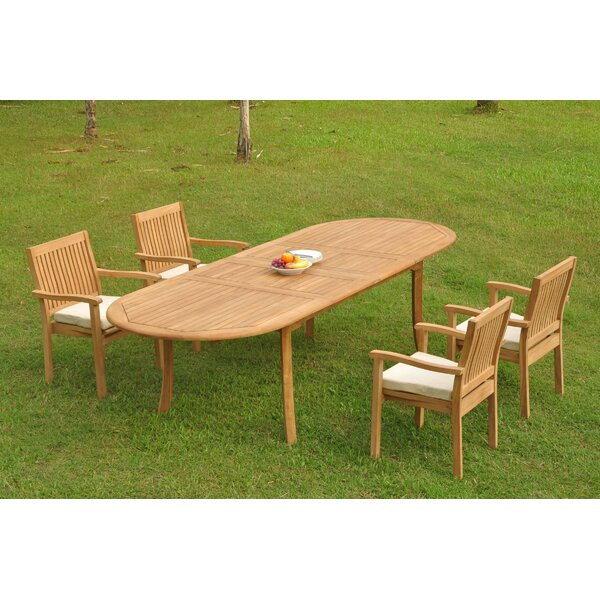 Syed 5 Piece Teak Dining Set by Rosecliff Heights