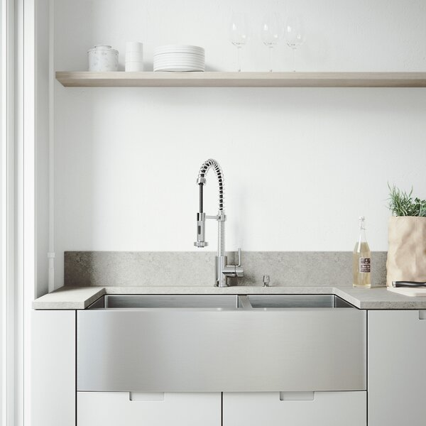 36 L x 22 W Double Basin Farmhouse Kitchen Sink with Grids and Strainers by VIGO