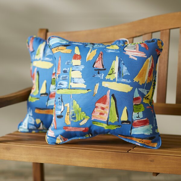 Wallon Corded Indoor/Outdoor Throw Pillow (Set of 2) by Longshore Tides