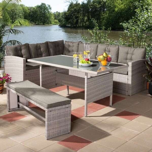 Tuscola 3 Piece Rattan Sofa Seating Group with Cushions by Ivy Bronx